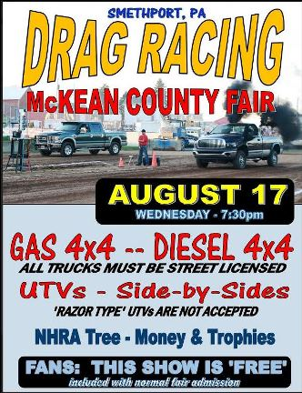 8-17 Drag Racing McKean County Fair
