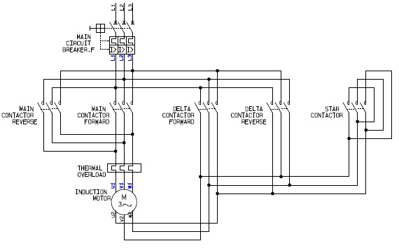 Power Circuit of a    Forward       Reverse    Star  Wye  Delta Motor Controller Schematic    Diagram      Elec