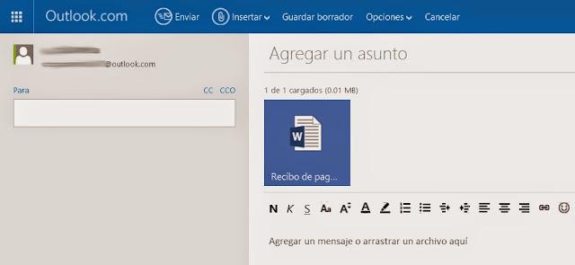 Adjuntar archivos en Outlook Correo