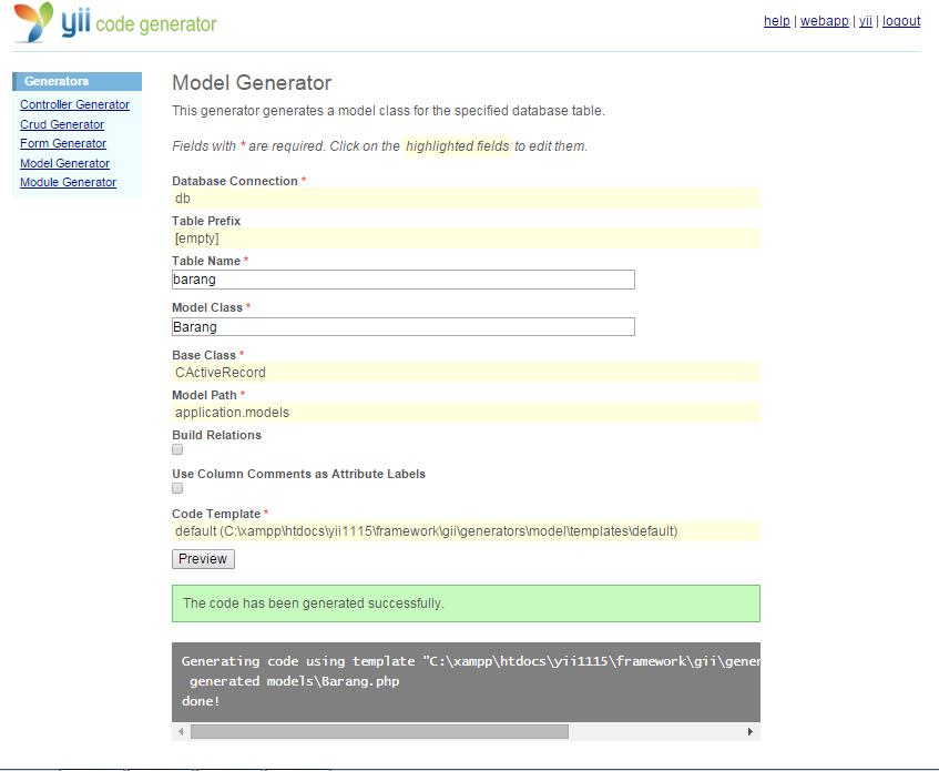 Model Generator dan CRUD Generator Pada Yii Framework
