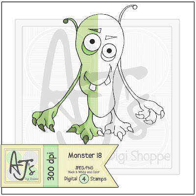 Monster 18 Black/White and Color Digital Stamp