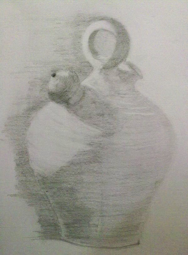 dibujo de un botijo en grafito