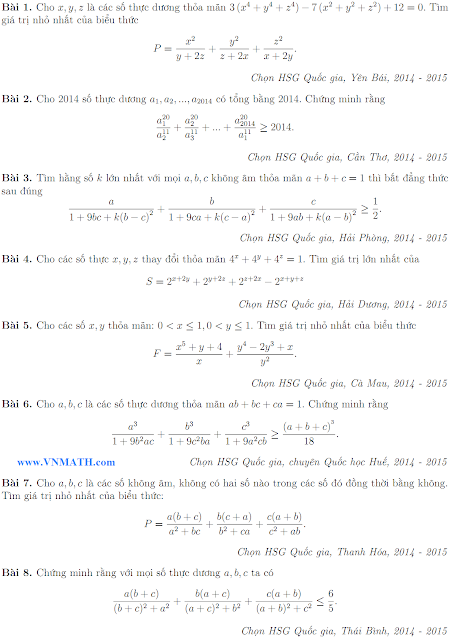 Inequalities from 2014 Mathematical Competitions in Vietnam