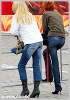 Girls wearing black high heels boots