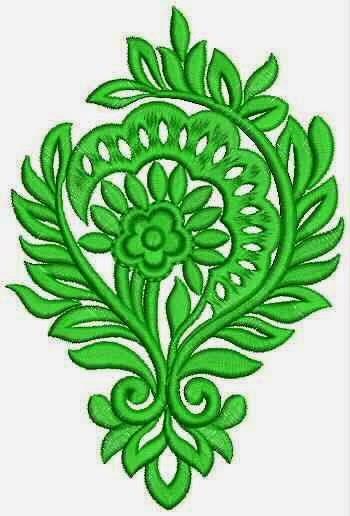 Groen kleur Floral Applique ontwerp