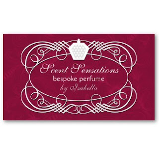 Business card showcase by socialite designs bespoke perfume with an elegant burgundy damask background on the front and grey on the back click on the image below to view the complete business card reheart Gallery