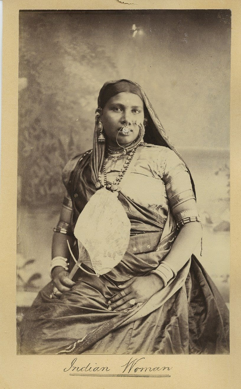 Indian Woman In Traditional Dress With a Fan in Hand -  c1880s