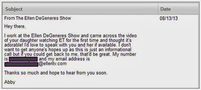 E-mail from Ellen Producer