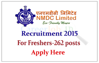 NMDC Limited Recruitment 2015 for the Various Posts –Trainee – 262 posts
