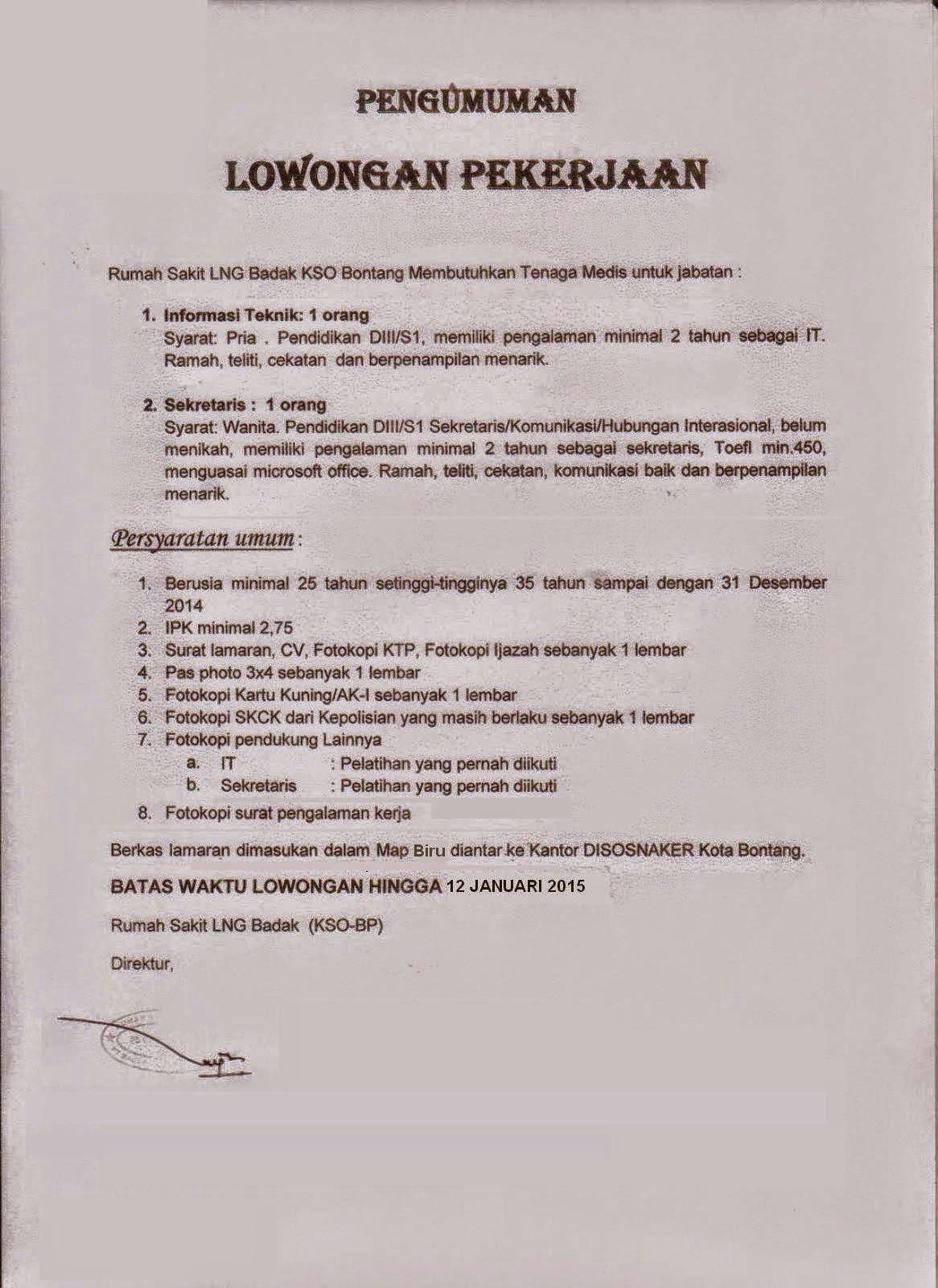 Lowongan Kerja Terbaru : Rumah Sakit LNG Badak KSO Bontang