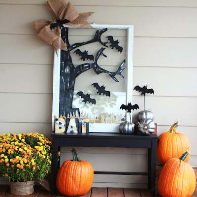Halloween decorations with Mod Podge and Stiffy using windows