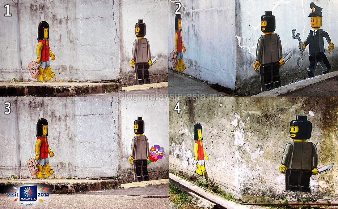 Amazing Ernest controversial Lego Street Art in Johor which has since been removed No is the original No was the st touch up No was the second touch up