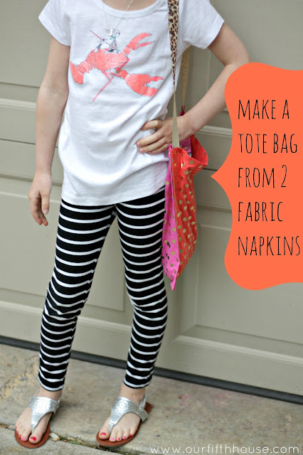 make a tote bag from 2 fabric napkins