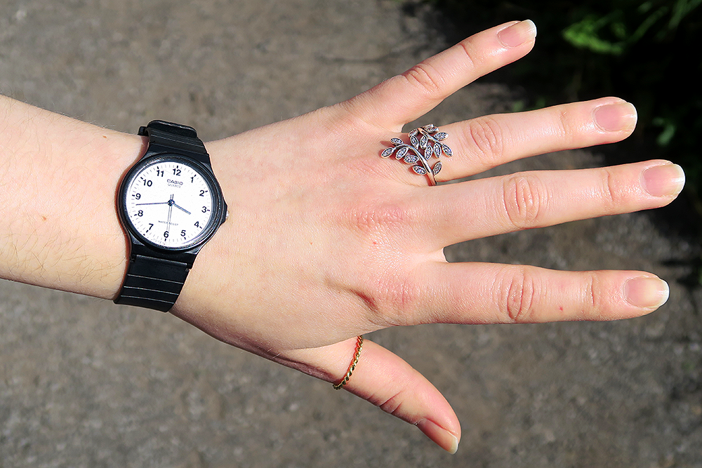 Casio Watch, Pandora Shimmering Leaves Ring and & Other Stories Ring