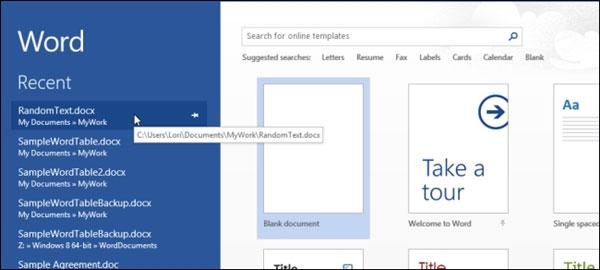 Tắt màn hình Start Screen Office 2013