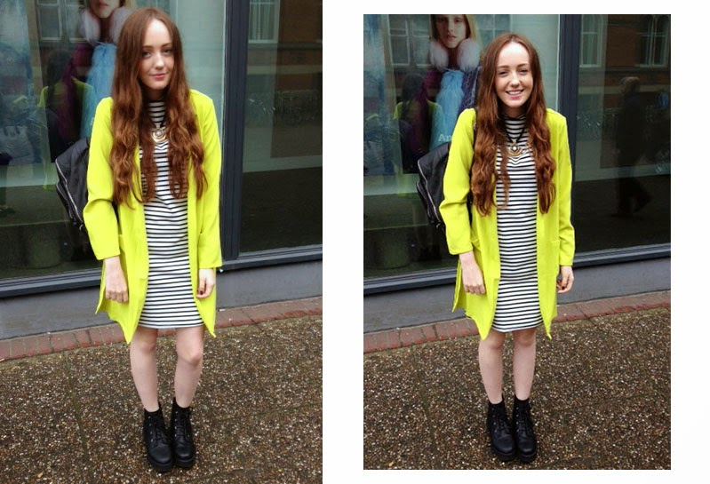 uni OOTD; choies striped shift dress, new look neon green duster jacket, black and gold statement necklace with asos revolution ankle boots