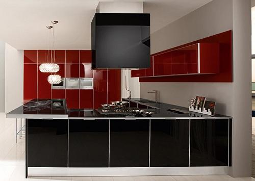 Kırmızı siyah ultra modern mutfak trendi modeli tasarımı dizaynı