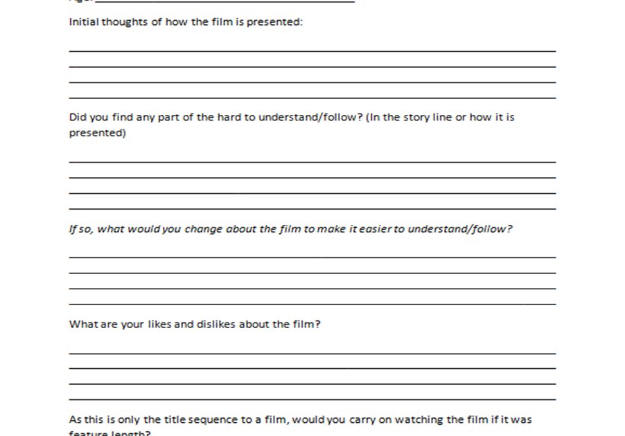 Jennis Blog Audience feedback form – Audience Feedback Form