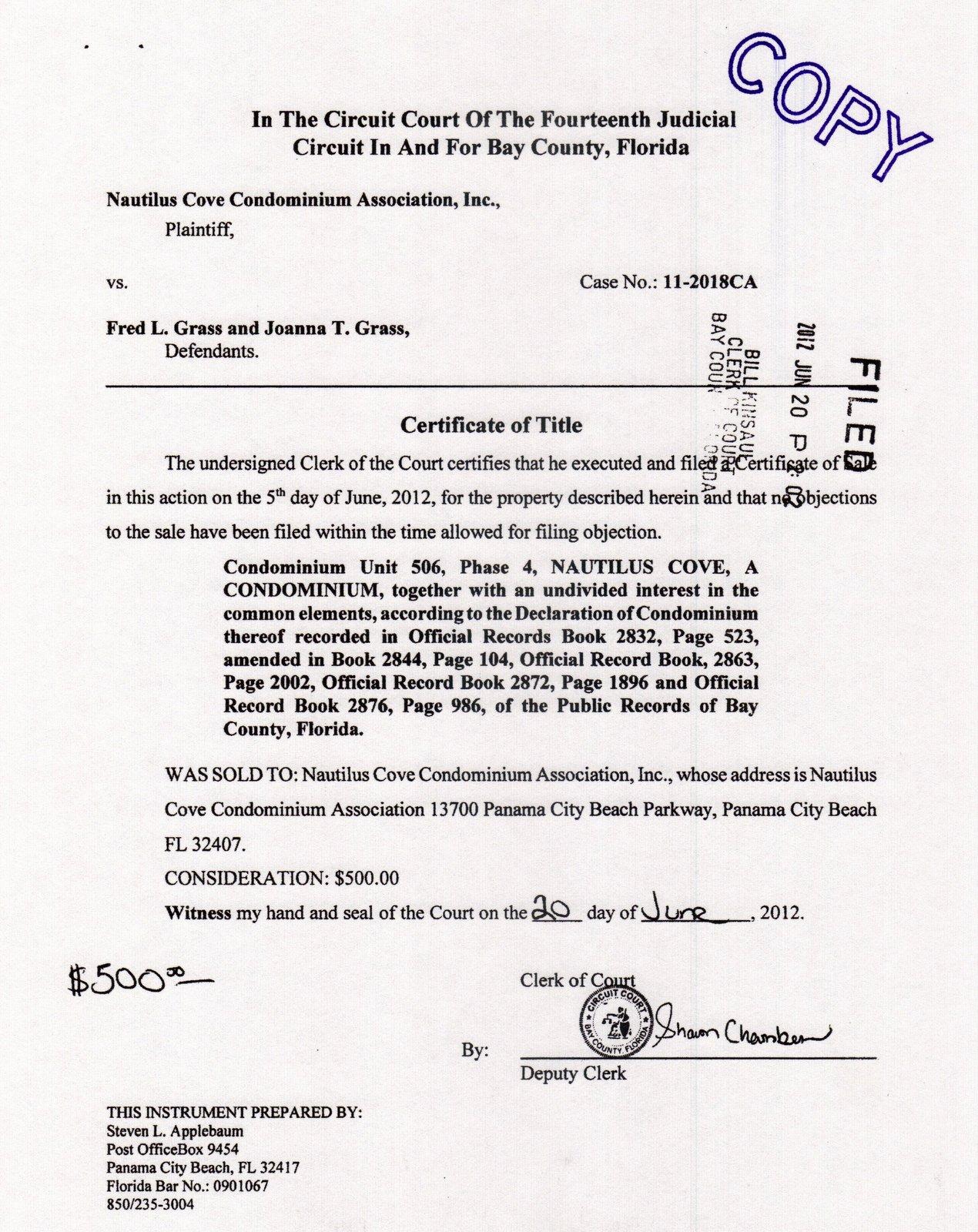 Nautilus Cove Condominium: NCC's 5 'Owned' units:
