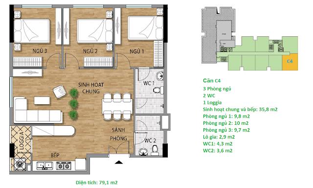 Căn hộ C4 79,1 m2 tầng 7 chung cư Valencia Garden
