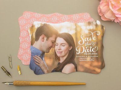 photo save the date, calligraphy save the date, die cut card, photo card