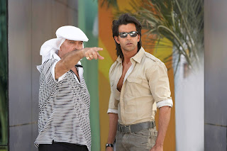 hrithik Roshan with dad Rakesh Roshan on Krrish 3 Shooting Location