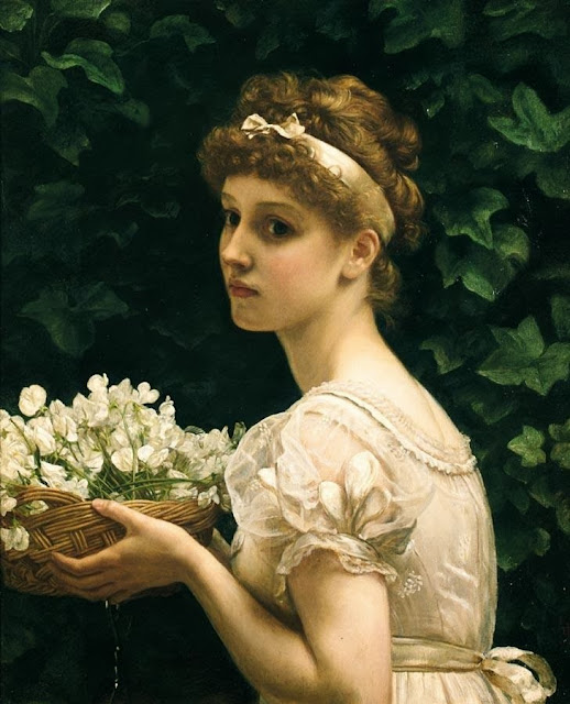 Pea blossoms,girl with flowers,white dress