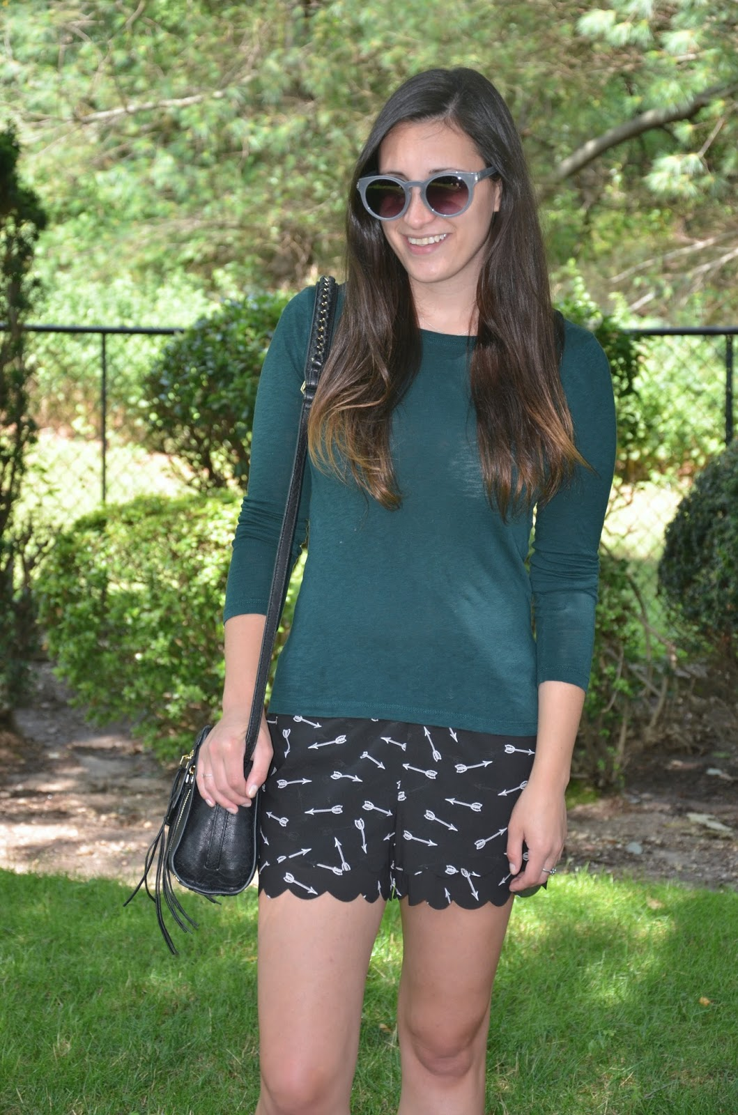 anthropologie arrow print shorts + long sleeves