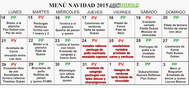 menú Navidad 2015 Dieta Dukan ABCDietas