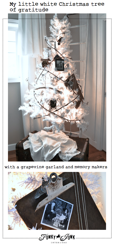 A little white Christmas tree of gratitude, complete with memory makers and a grapevine garland via Funky Junk Interiors