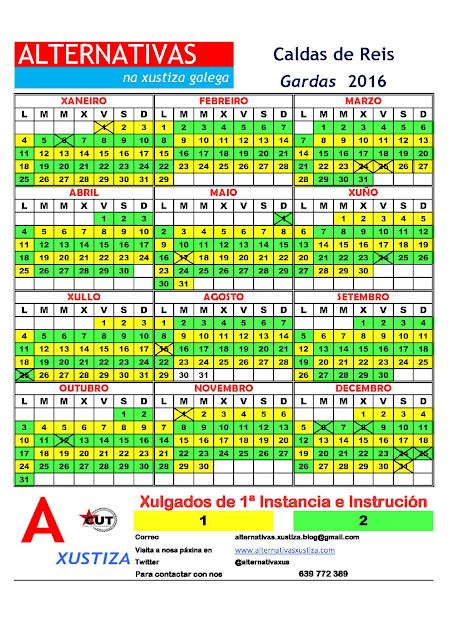 Caldas. Calendario gardas 2016