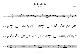 La Lambada partitura para Flauta Travesera (La Lambada Flute Score, Chorando Se Foi Sheet Music). Para tocarla al ritmo del vídeo