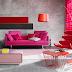 Sofá colorido na decoração de salas