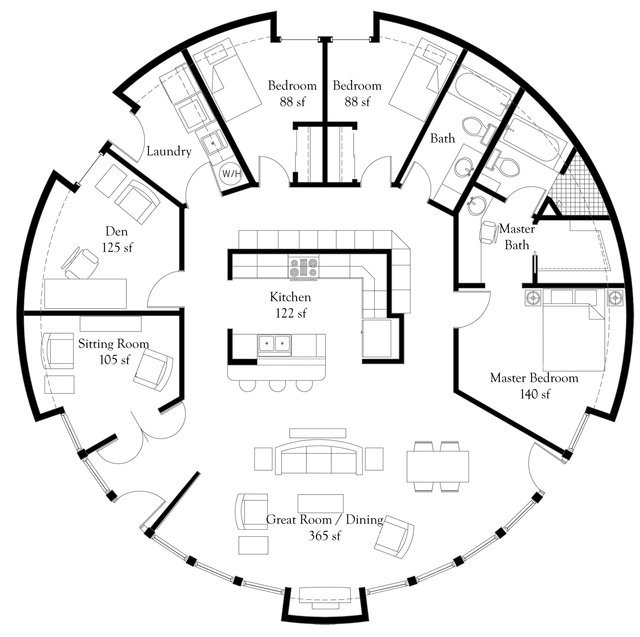 Monolithic dome home floor plans an engineer 39 s aspect for Circular house floor plans