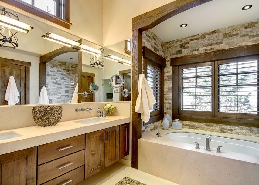 Id e de salle de bain rustique for Chambre de bain rustique