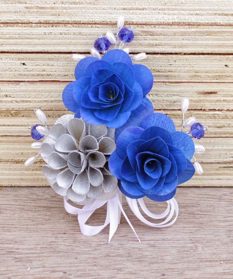Blue Silver Ivory Wedding: Bouquets, Corsages and Boutonnieres Made ...
