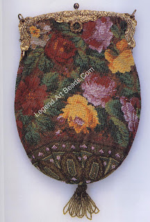 """An 1850s beaded bag from France. (The metal frame closure was added c.1920.) Tiny glass""""seed""""beads (one-half millimeter to one millimeter long) knitted with silk thread form the floral pattern. Although most European glass beads were exported, small, round seed and tubular""""bugle""""beads were used for embroidering clothing and accessories, a custom fashionable since the Renaissance. Length (top of frame to bottom of fringe), 28 cm. Private collection"""