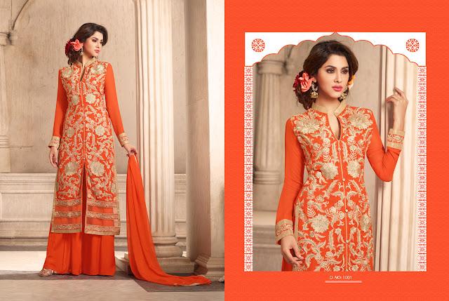 Buy Palazzo Style Embroidery Salwar Kameez