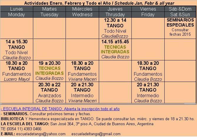 Horarios Tango todo el Año / Schedule