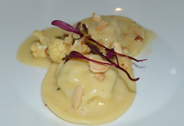Scallop Ravioli-Roasted Cauliflower-Marcona Almonds at the Mediterraneo Restauran