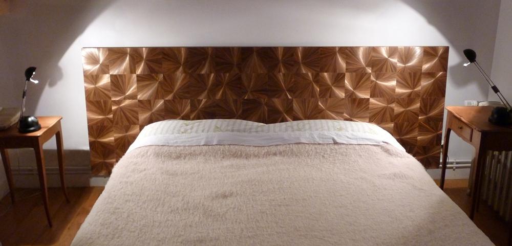 marqueterie de paille par madmoisellecil t te de lit. Black Bedroom Furniture Sets. Home Design Ideas