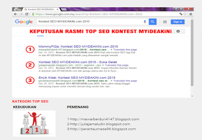 Menang Kontest SEO dari myideakini.com