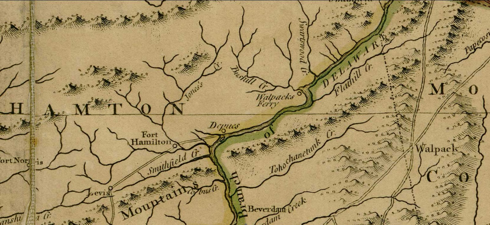 1768 map by samuel holland shows bushkill creek swartswoods creek flathill creek walpacks ferry depues fort hamilton and fort norris