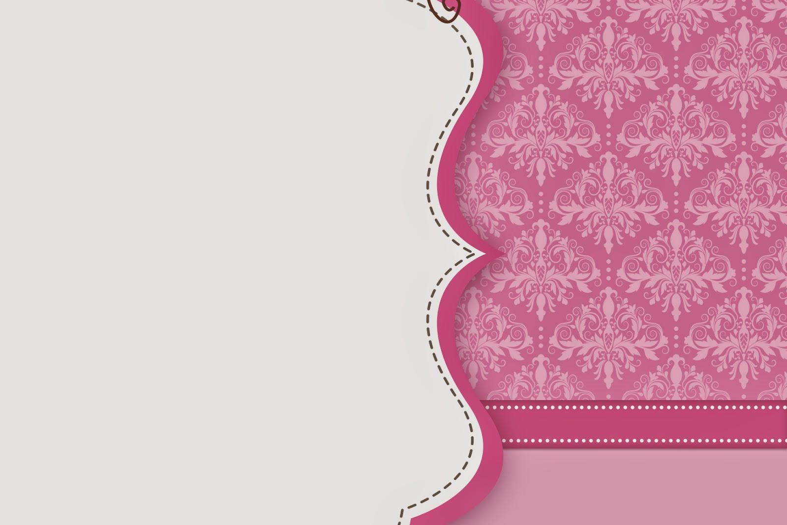 pink damask free printable invitations