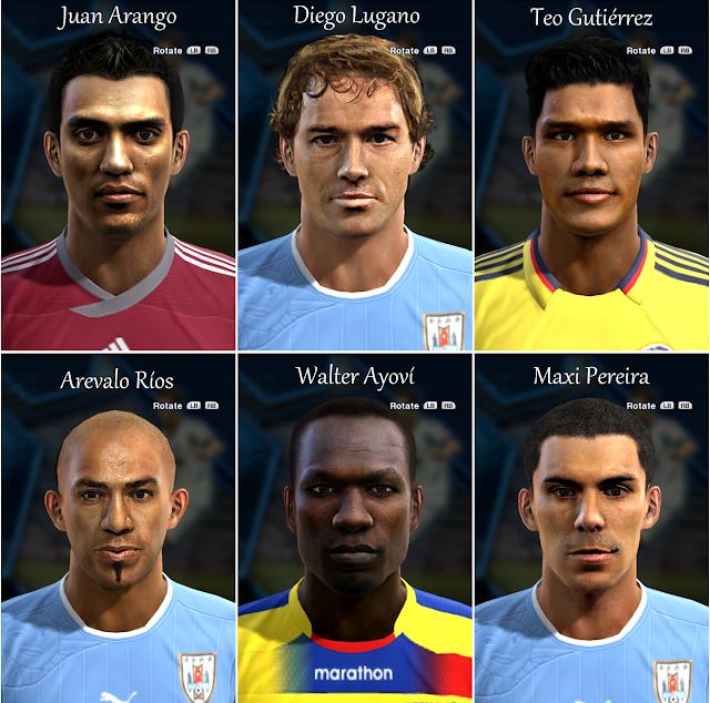 Juan Arango, Diego Lugano, Téo Gutiérrez, Arévalo Ríos, Walter Ayoví e Maxi Pereira Faces - PES 2013