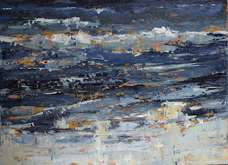 Ocean Wave semi-abstract painting by Karri Allrich in thick painterly brushwork and palette knife, 36x48 inches.