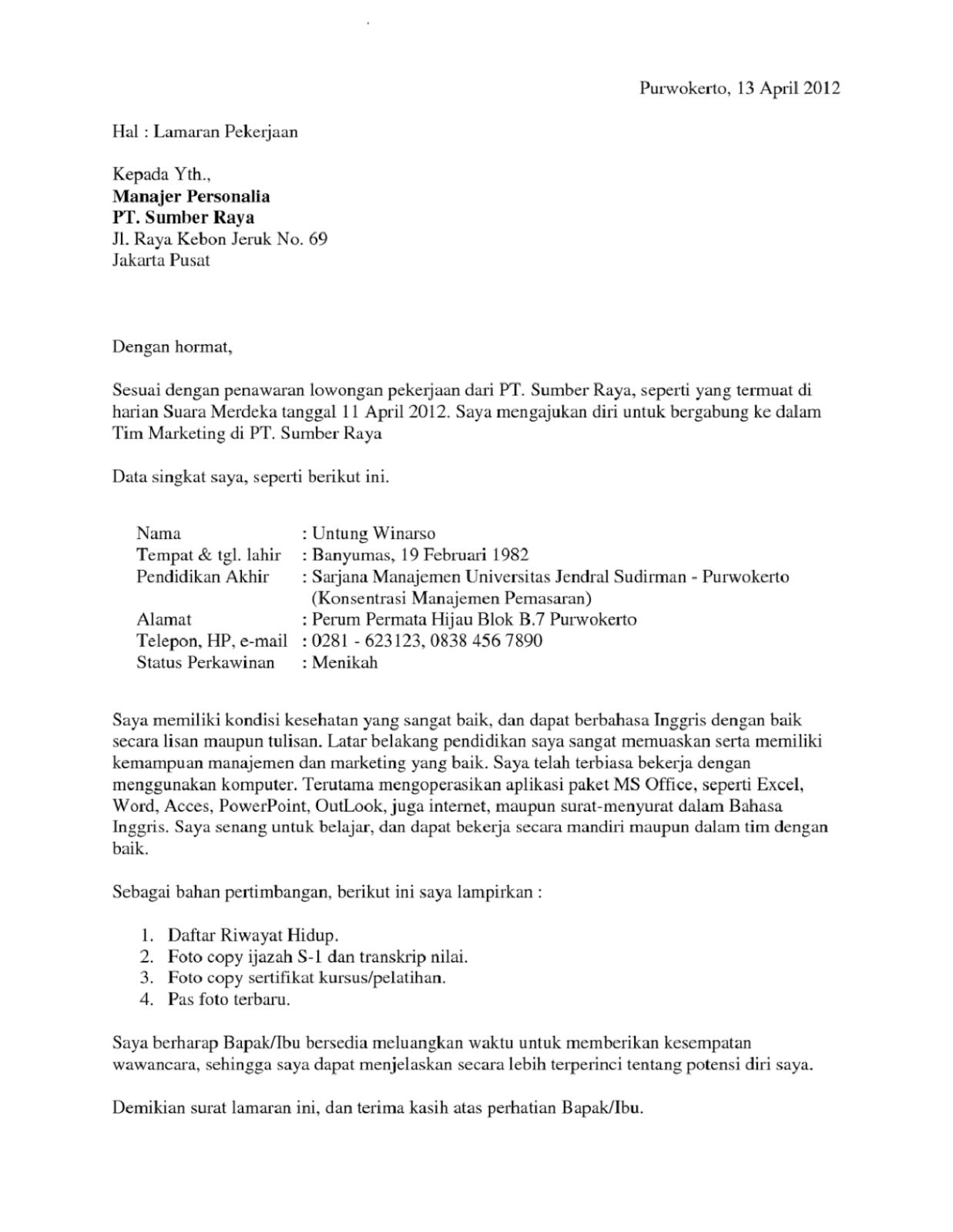 Inilah Kumpulan Contoh-contoh Surat Lamaran Pekerjaan Model Terbaru