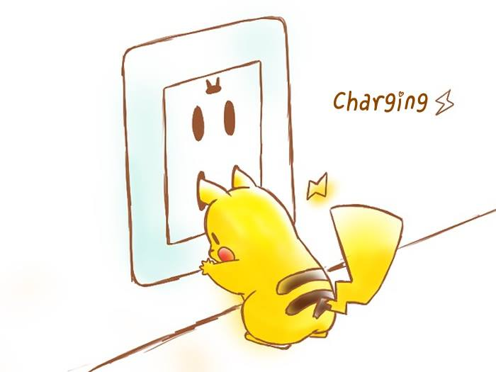 pikachu charging his ears on a jack plug