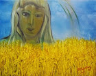 """Νότα Κυμοθόη """"Θεά Δήμητρα Παναγιά"""" Ελαιογραφία σε μουσαμά"""