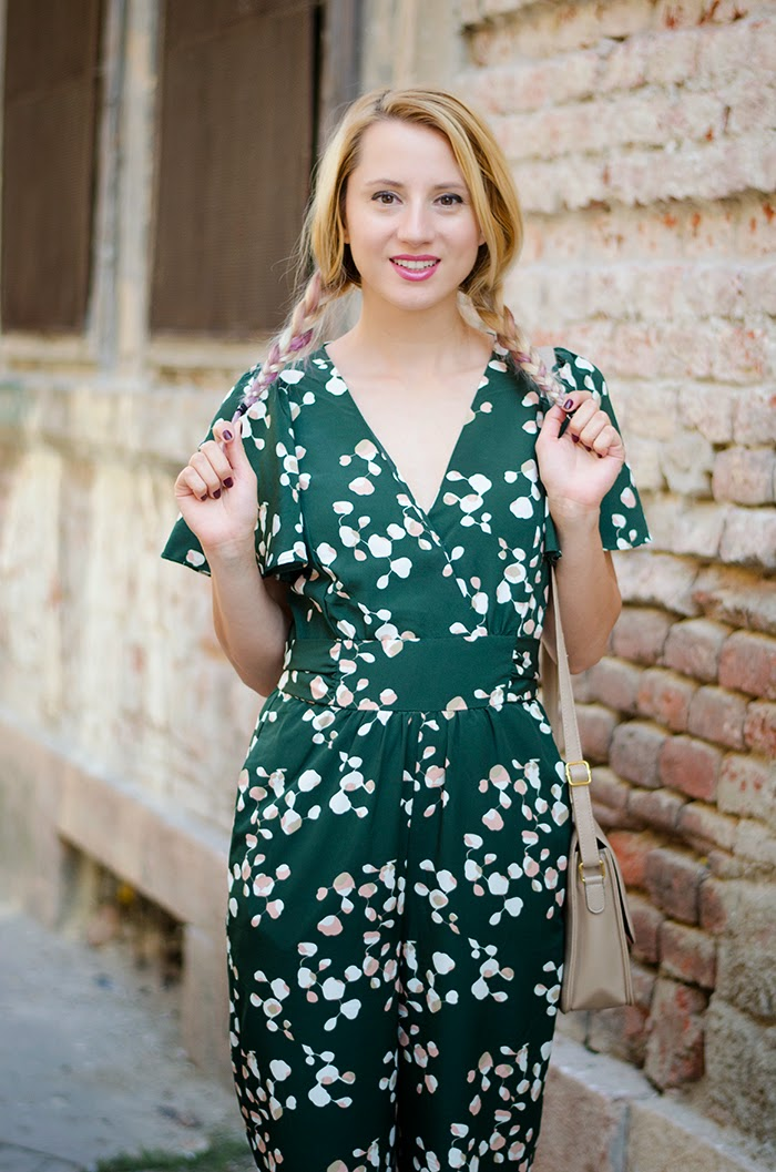 H&M green jumpsuit